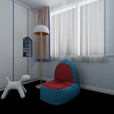 现代简约儿童单人沙发椅落地灯组合
