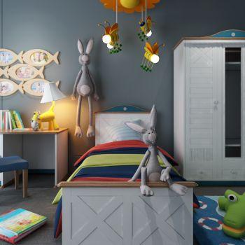 现代儿童房单人床衣柜床具组合