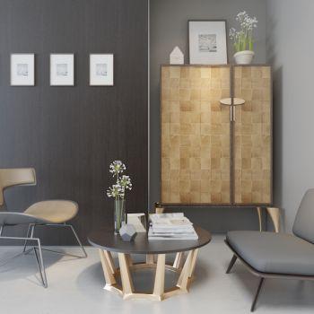现代简约单人椅茶几边柜组合