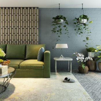 现代简约盆栽植物沙发茶几组合