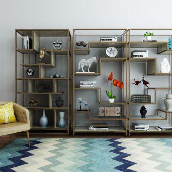 现代简约单人椅置物柜架陈设品组合