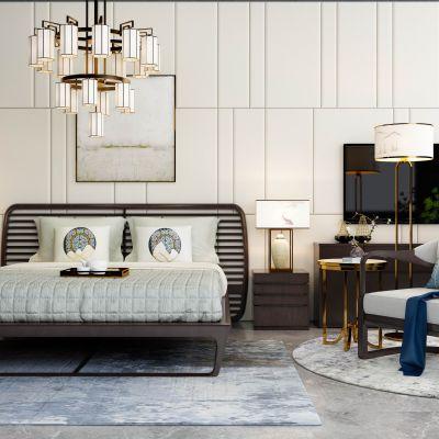 新中式主卧双人床休闲椅吊灯电视柜绿植组合
