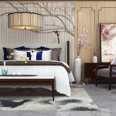 新中式吊灯双人床休闲椅电视柜组合