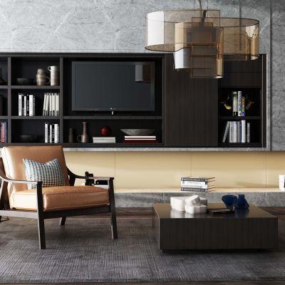 现代风格电视墙书柜3D模型