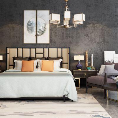 新中式主卧双人床休闲椅边柜吊灯组合3D模型