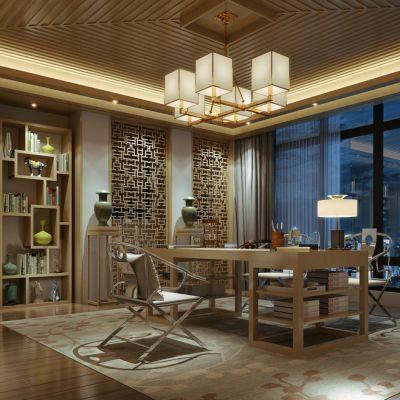中式风格书房3D模型