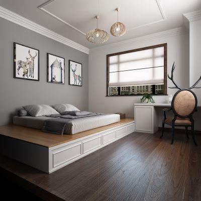 极简灰白北欧风卧室书房3D模型