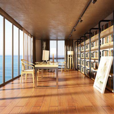 新中式风格书房3D模型