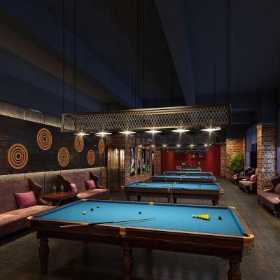 工业风格桌球室休息区