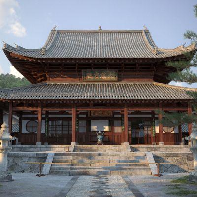 中式建筑外观3D模型