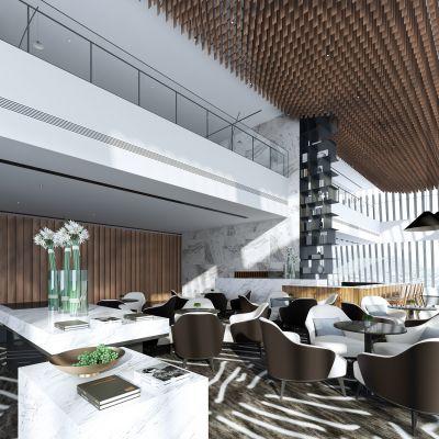现代别墅大堂3D模型