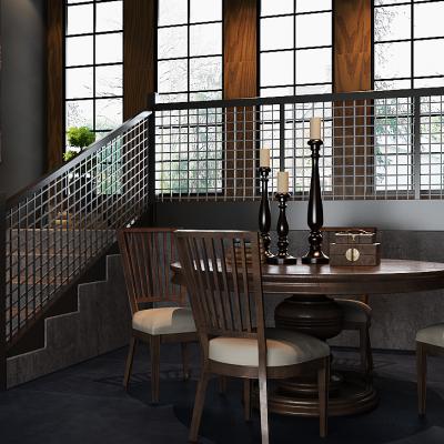 圆形餐桌椅子家具组合3D模型