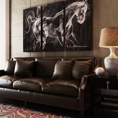 现代皮革沙发组合3D模型