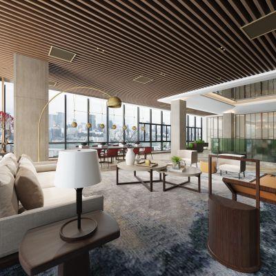 新中式办公空间休息区