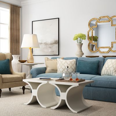 现代多人沙发组合3D模型
