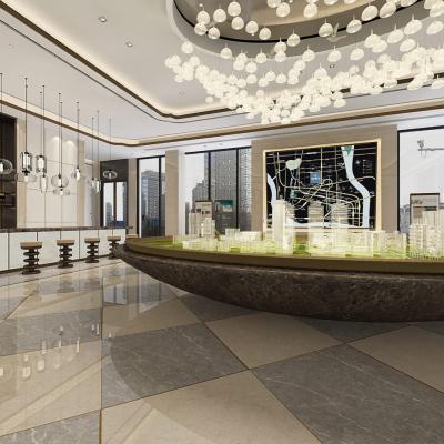 中式风格售楼处大厅3D模型