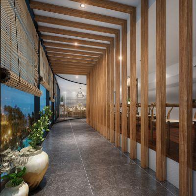 走廊电梯间中式风格3D模型
