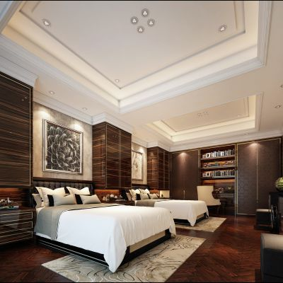 现代风格酒店客房3D模型