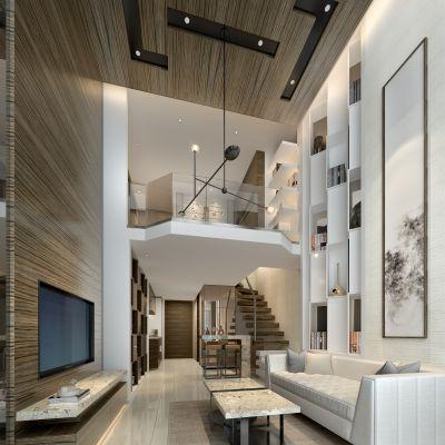 现代风格别墅大堂3D模型