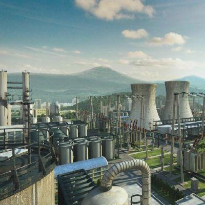 工业风发电厂建筑