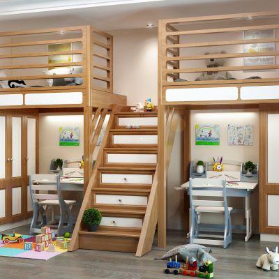 现代儿童房 双人床 儿童书桌 座椅