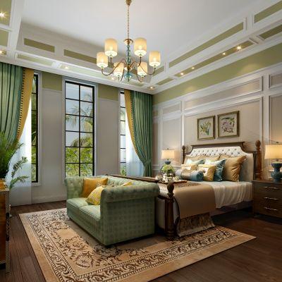 美式风格卧室3D模型