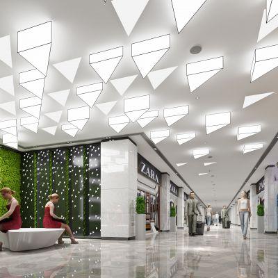 现代风格服装店走廊