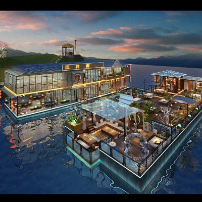 中式风格海上建筑外观3D模型