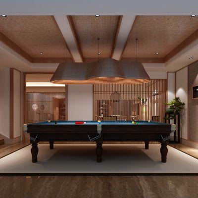 新中式风格家庭台球室