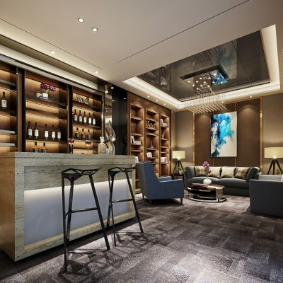 现代风格吧台、会客区