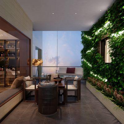 新中式风格休闲阳台