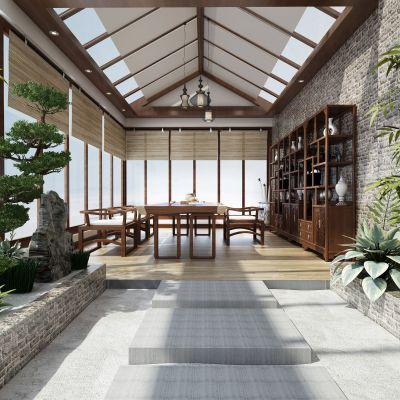 新中式风格阳台花园3D模型