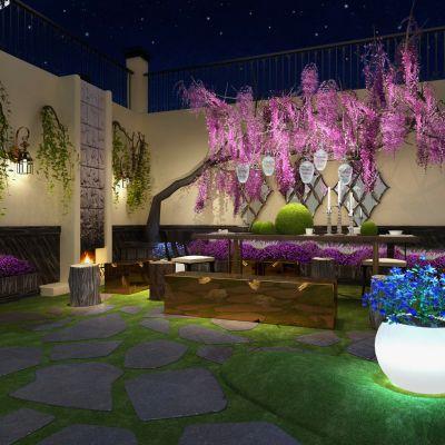新中式风格庭院景观3D模型