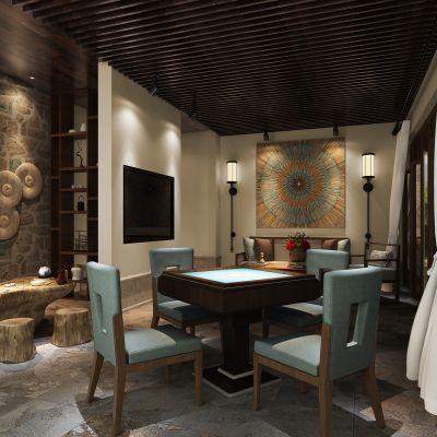 中式风格麻将室