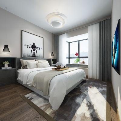 北欧风格卧室3D模型