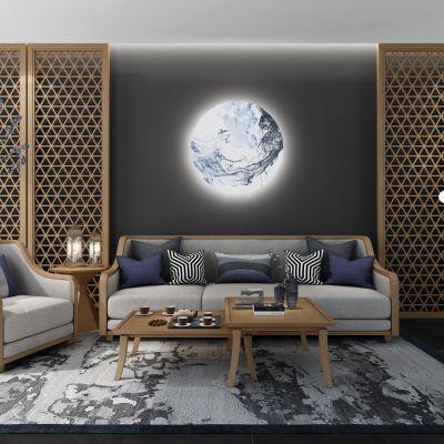 新中式沙发组合3D模型