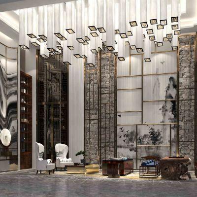 新中式售楼处VIP洽谈区3D模型