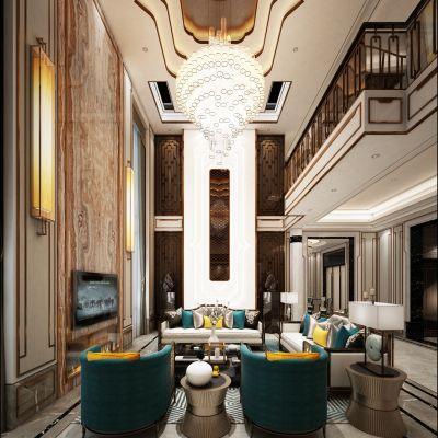 中式风格别墅大堂3D模型