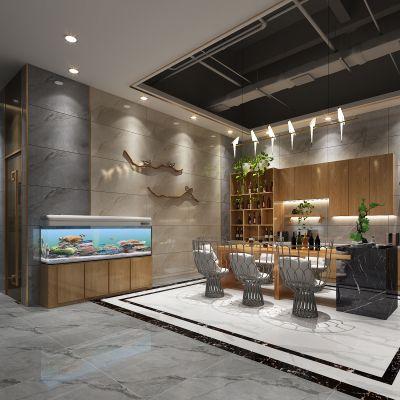新中式吧台茶艺区及办公区