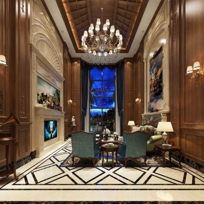 美式风格别墅大堂3D模型