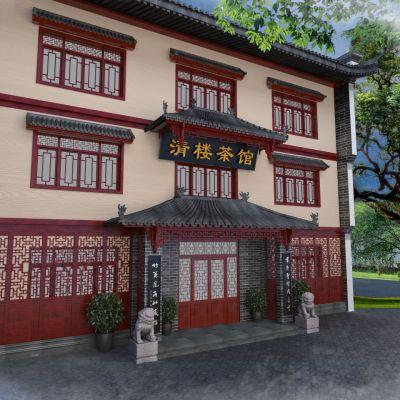 中式茶馆门头