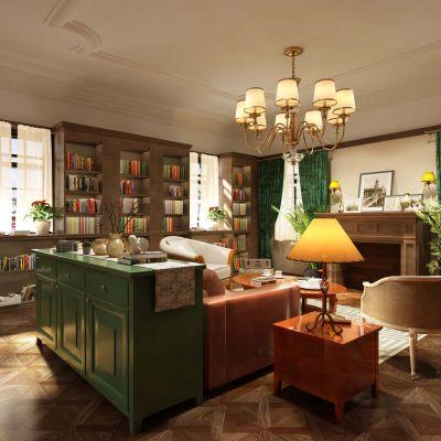 美式场景图书馆阅览室