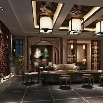 中式会客厅3D模型