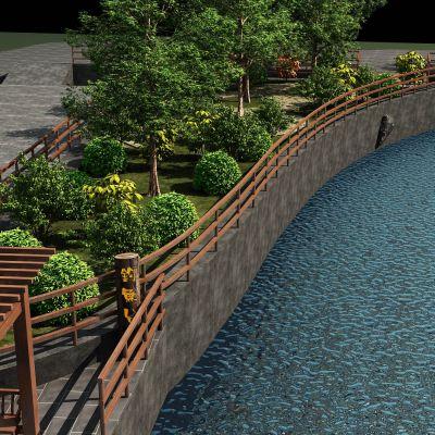 园林湖泊3D模型