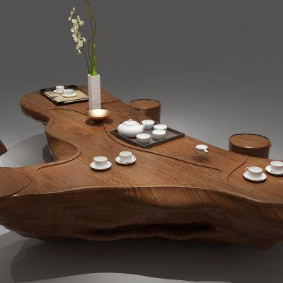 根雕茶海,茶桌3D模型