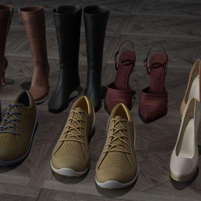 鞋子,高跟鞋,运动鞋,筒靴