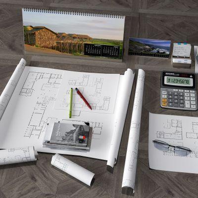 图纸,笔,计算器,书籍