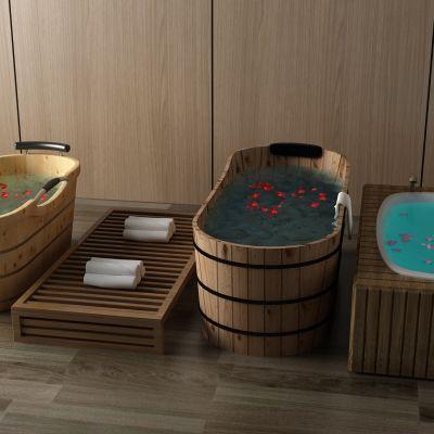 浴缸,淋浴,木桶