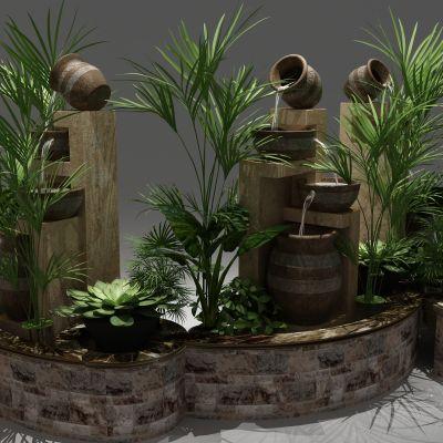 植物,小品,景观,假山