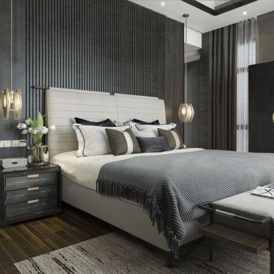 新中式卧室 床头柜 床尾凳 双人床 床 单人床